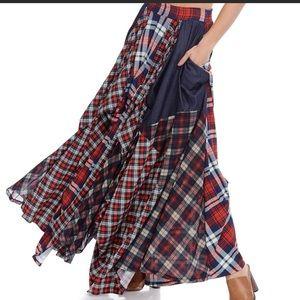 TOV Holy Plaid jean maxi skirt.